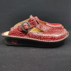 Alegria Paloma Wine Embossed Rose Mary Jane Shoes